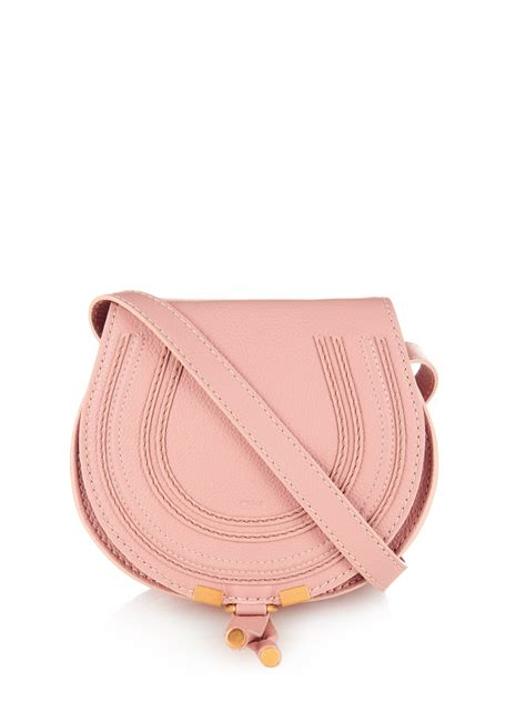 chlo 233 marcie mini leather cross bag in pink lyst