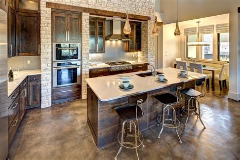 concrete stained floors Kitchen Traditional with bar