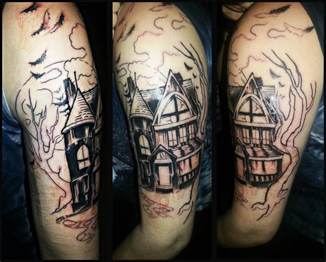halloween tattoo sleeve 11 haunted house half sleeve tattoos