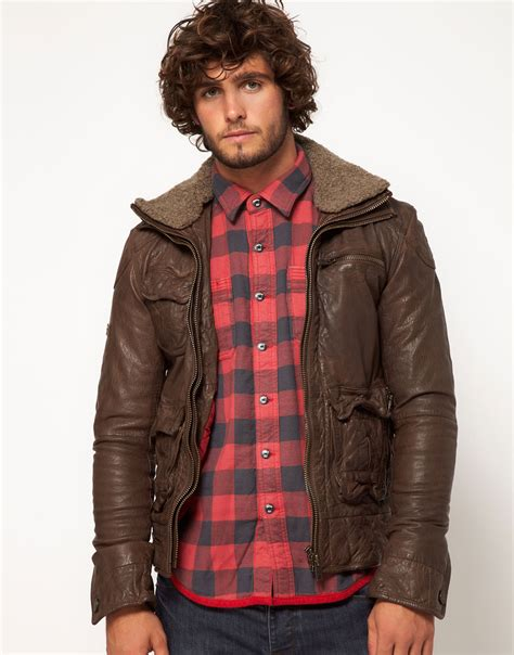 Superdry Leather Brown superdry tarpit leather jacket in brown for lyst
