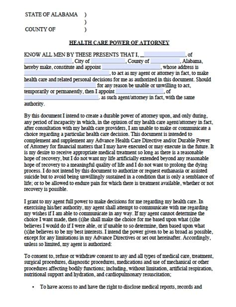 Free Alabama Medical Power Of Attorney Forms And Templates Alabama Durable Power Of Attorney Template