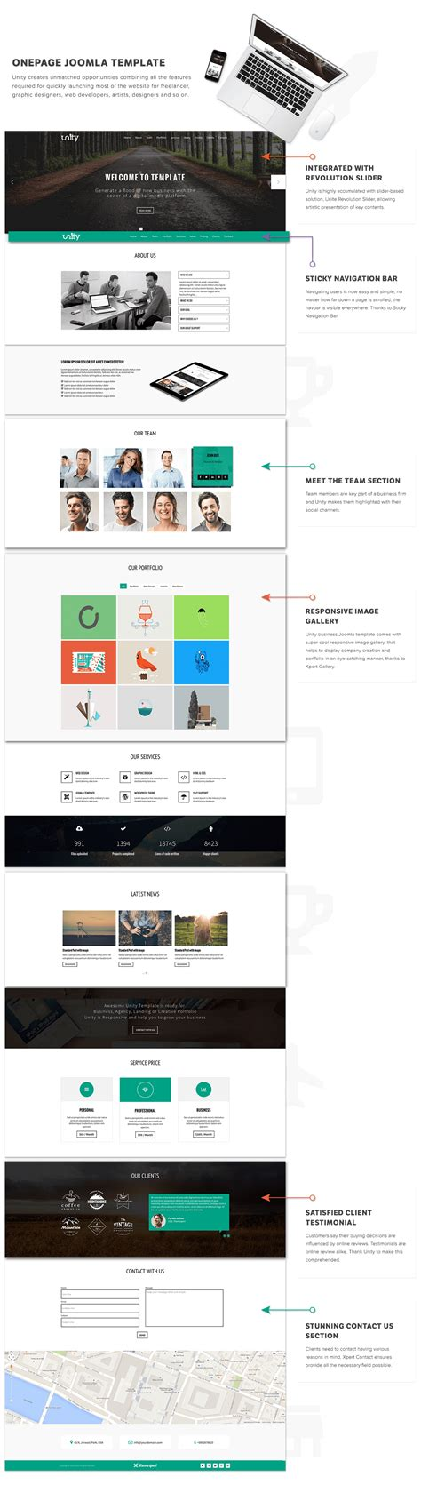 bootstrap themes unity unity responsive one page joomla template themexpert