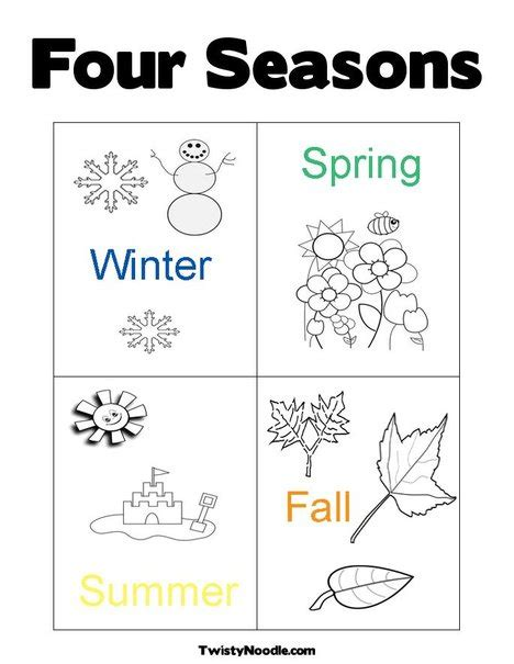 free four seasons tree coloring pages