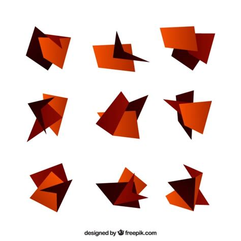Origami Figures - set of origami figures in brown tones vector free