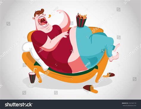 couch potato santa couch potato fat man lying on stock illustration 316749119