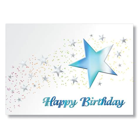 happy birthday star design birthday cards with teal stars embossed in colorful foil