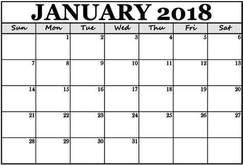 printable monthly calendar for january 2018 january 2018 monthly calendar