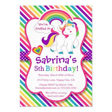 Rainbow Pony Unicorn Birthday Party Invitation Zazzle Com Unicorn Birthday Invitations Template