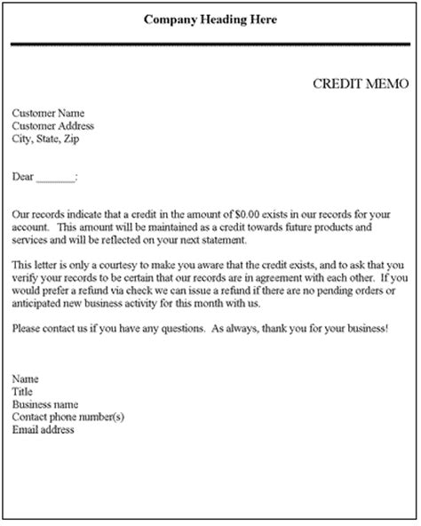 Business Letter And Memo Writing credit memo credit letter template letter templates