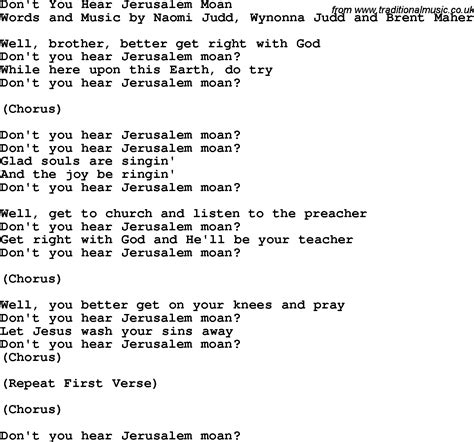 printable jerusalem lyrics country southern and bluegrass gospel song don t you hear