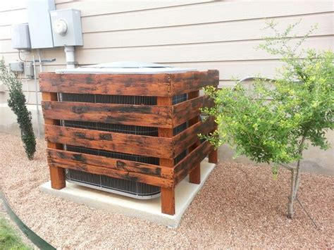 build a unit in backyard air conditioner cover i made from 1 pallet and then
