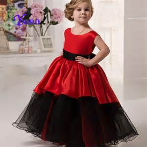 red black flower dresses for cheap cap sleeve child pageant dress 2016 girls ball gown ysmo