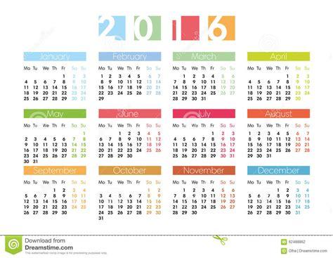 Calendrier Num Ro Semaine 2016 Calendrier Pour 2016 En Anglais Illustration De Vecteur