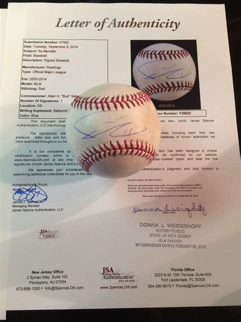 Proof Of Jsa Letter 2012 used pitched yu darvish vs