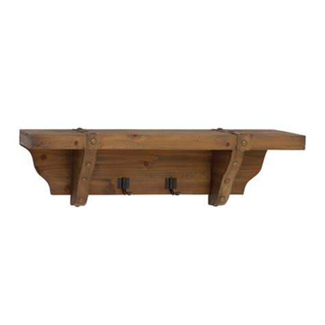 wooden shelves with hooks woodland imports wood wall shelf with metal hooks