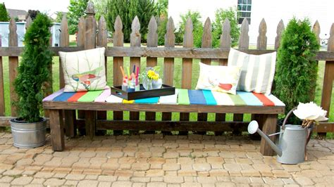 colorful bench how to build a colorful garden bench using pallets