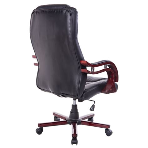 black leather and wood office chairs homcom pu leather wood high back executive office chair