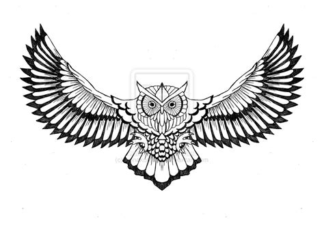 flying skull owl tattoo design