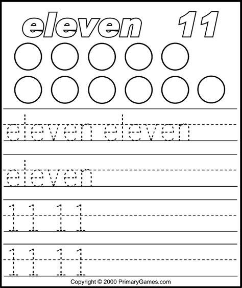 image result for number 11 worksheet preschool craft