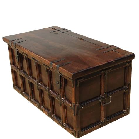 wooden trunk kokanee beaufort primitive solid wood iron coffee table