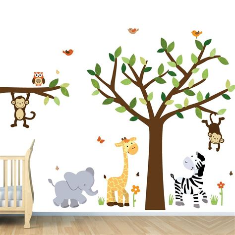Nursery Wall Decals Animals Safari Jungle Pride 193 Rbol Etiquetas De La Comparaci 243 N La Selva Pegatinas Bebe