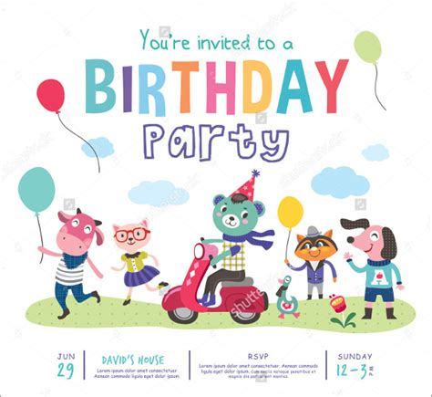Animated Child Birthday Card 36 Kids Birthday Invitation Templates Free Sle