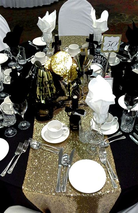 black gold and silver centerpiece for a black tie affair