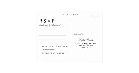 simple chic wedding rsvp postcard template zazzle com
