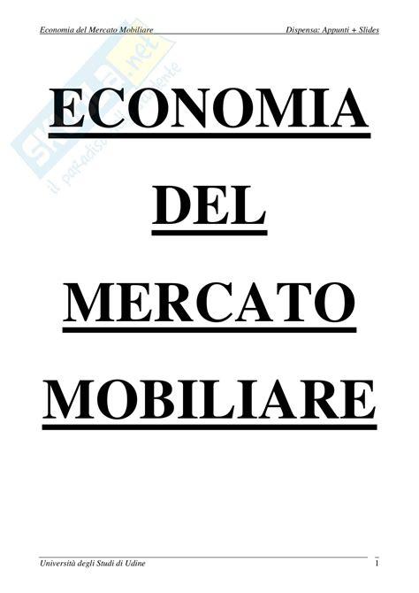 Il Mercato Mobiliare Economia Mercato Mobiliare Appunti