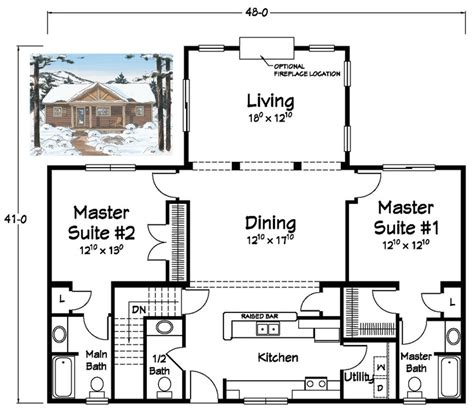 Ranch Floor Plans With Two Master Suites | two master suites ranch plans pinterest