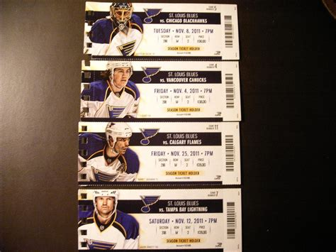 St Louis Blues Ticket Gift Cards - st louis blues 2011 12 nhl ticket stubs one ticket ebay
