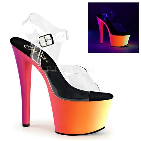 pleasers shoes pleaser shoes rainbow 308uv platform heels pole
