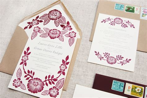 Printing Wedding Invitations by Arman S Floral Block Printed Wedding Invitations