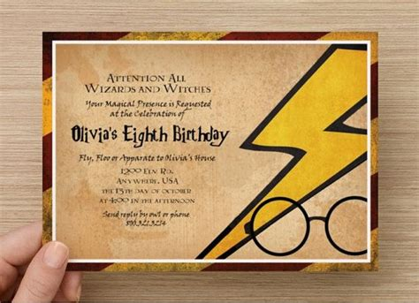 harry potter birthdays card template invitation cards harry potter invitations
