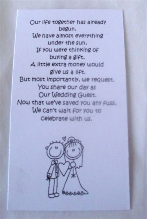 money wedding gift 50 small wedding gift poem cards asking for money bride