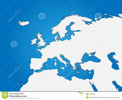 blind map of europe europe africa blind map stock vector image 43725608