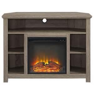 corner highboy fireplace tv stand in driftwood walmart