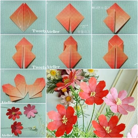 How Make Paper Flowers Steps - how to make beautiful paper origami flower fab diy