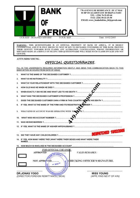 Bank Next Of Kin Letter Mr Salif Ali Bill Exchange Manager Bank Of Africa Boa