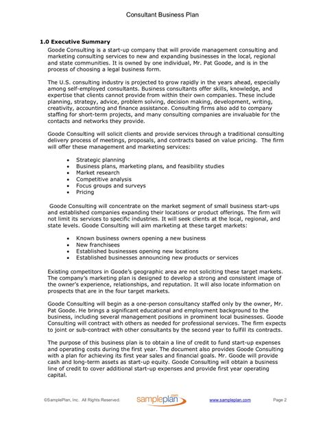 Consulting Business Plan Executive Summary Sle Plan Llc Consulting Business Plan Template