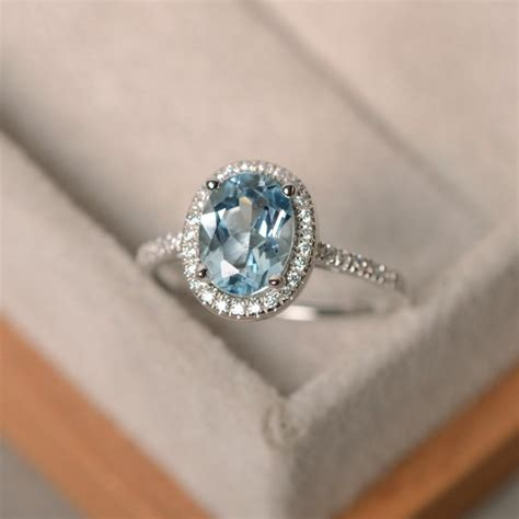 Wedding Rings Gemstones by March Birthstone Aquamarine Ring Sterling Silver Halo