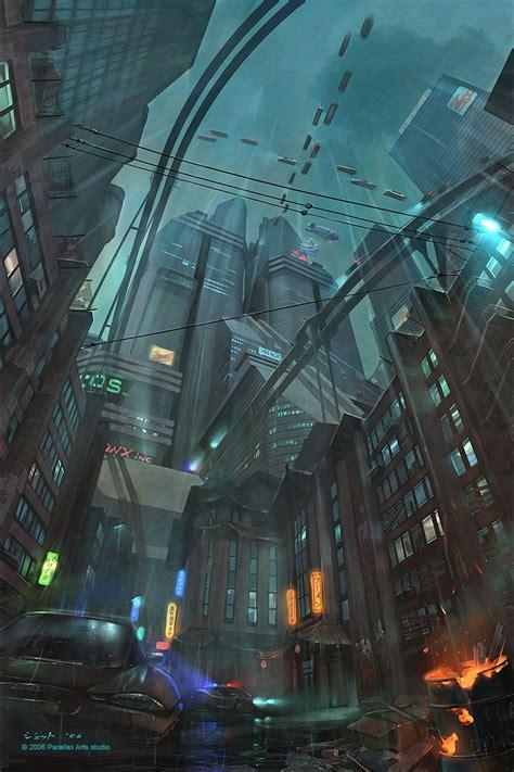 cyberpunk city concept environment sci fi concept art down town picture 2d architecture concept art level