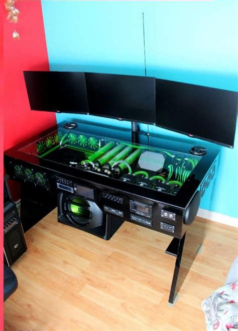 scratch build water cooled pc desk mod with built in car