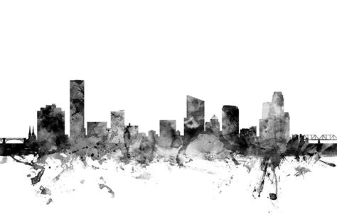 Grand Rapids Skyline Outline by Grand Rapids Michigan Skyline Digital By Michael Tompsett