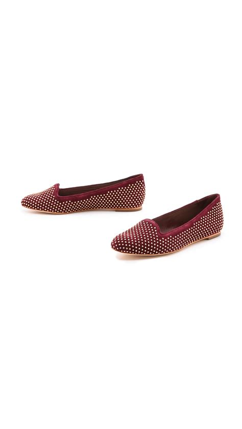 loeffler randall loafers lyst loeffler randall blaise studded suede loafers in