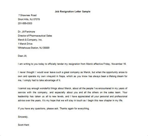 resignation letter template word format