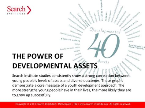 The Search Institute 40 Developmental Assets The Power Of Developmental Assets