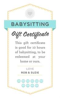 Babysitting Gift Voucher Template by Date Printable Babysitting Gift