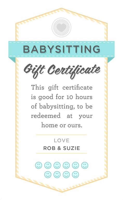 babysitting gift voucher template printable babysitting coupon search results calendar 2015