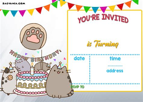 template birthday invitation free printable pusheen birthday invitation template